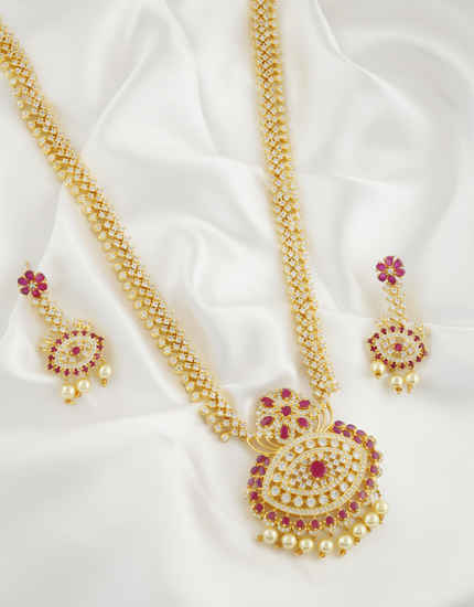 Pink Colour Gold Finish American Diamond Long Necklace For Women