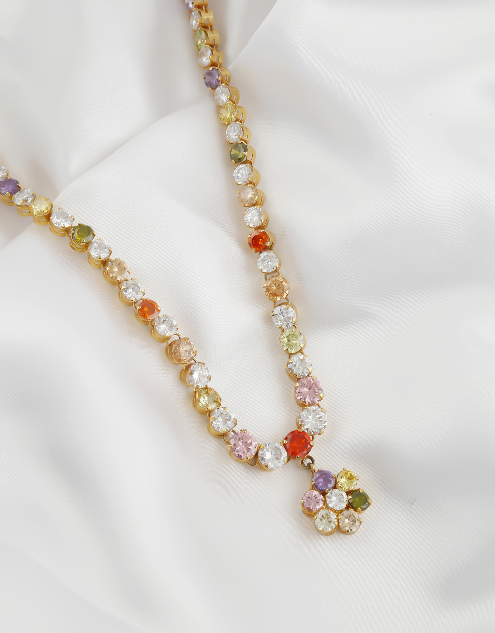 Multi Colour Gold Finish Fancy Delicate Diamond Necklace