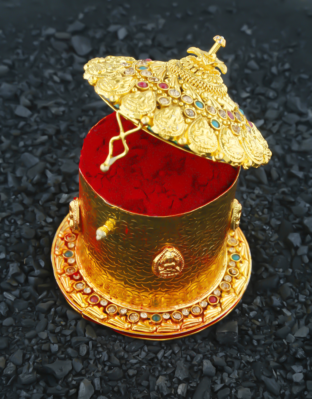 Fashionable Gold Finish Sindoor Box For Newly Bride