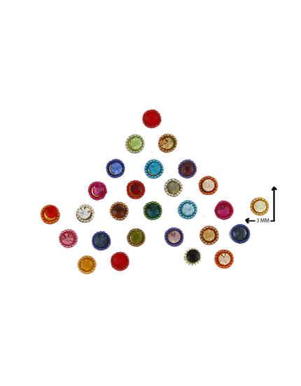 Multi Colour Round Shape Stylish Bindi For Girls