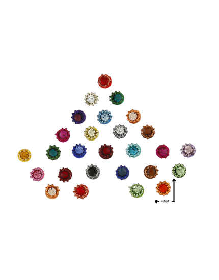 Multi Colour Round Richie Rich Bindi For Women