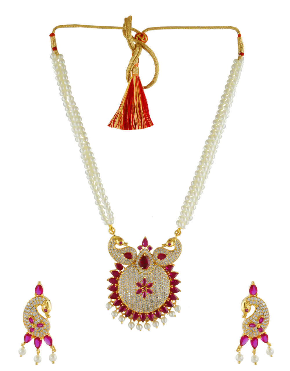 Pink Colour Gold Finish American Diamond Moti Haar Pearls Necklace