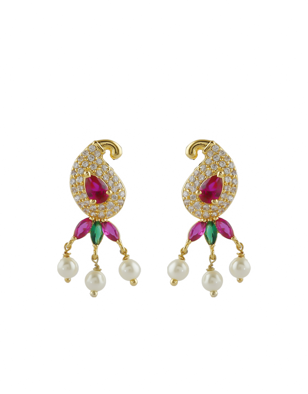 Multi Colour Fancy Gold Finish Studded With Ruby Stone Moti Haar