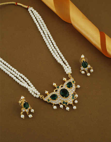 Green Colour Fancy Gold Finish Marashtrian Gold Finish Necklace