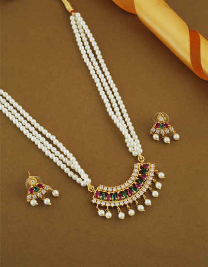 Multi Colour Gold Finish Studded With Stones Fancy Tikda Set