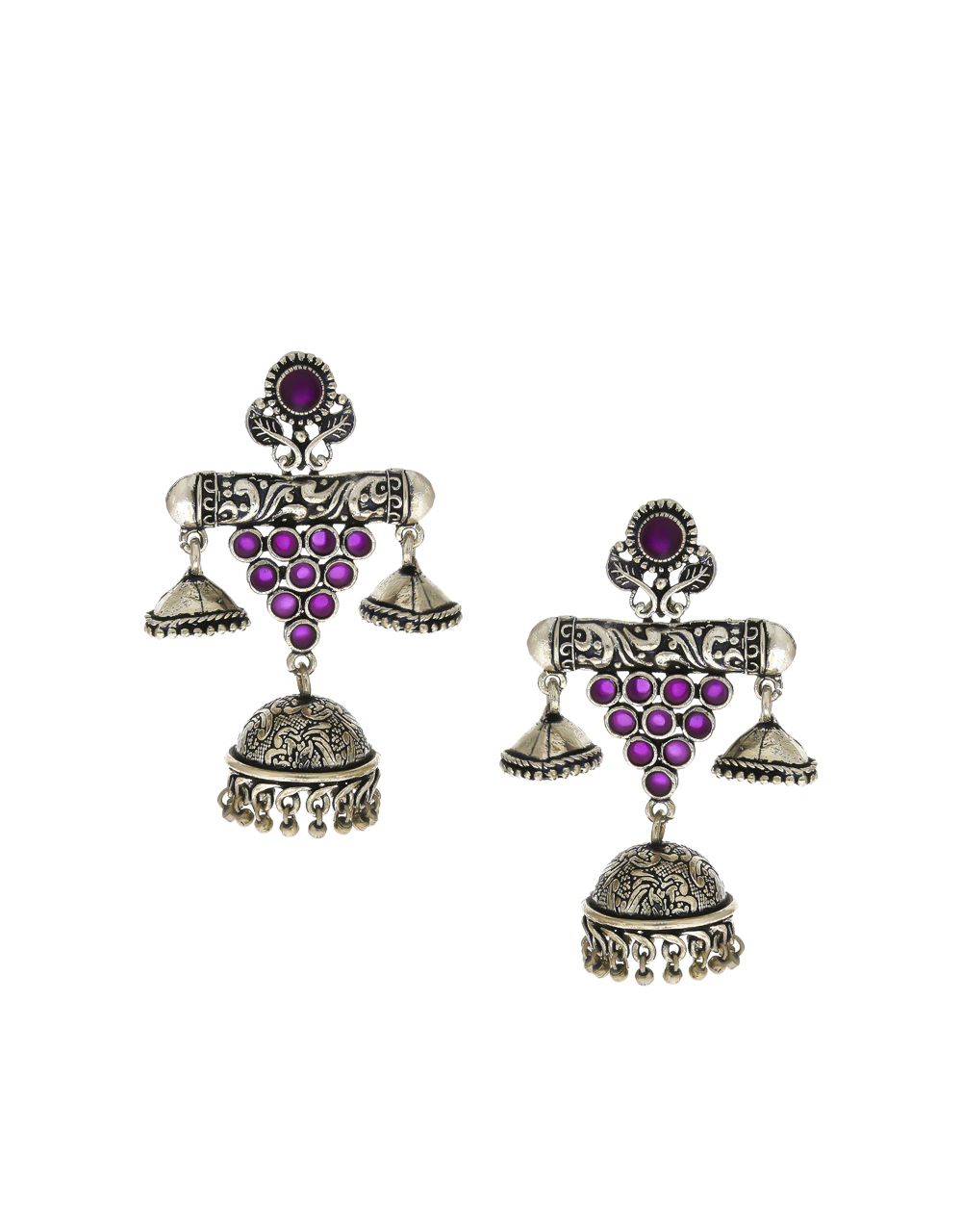 Designer Pink Colour Oxidised Finish Jhoomka Earrings