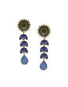 Blue Colour Gold Finish Long Stunning Earrings For Women
