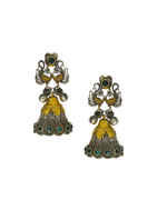 Peacock Design Gold Finish Green Colour Jhumkaa Earrings