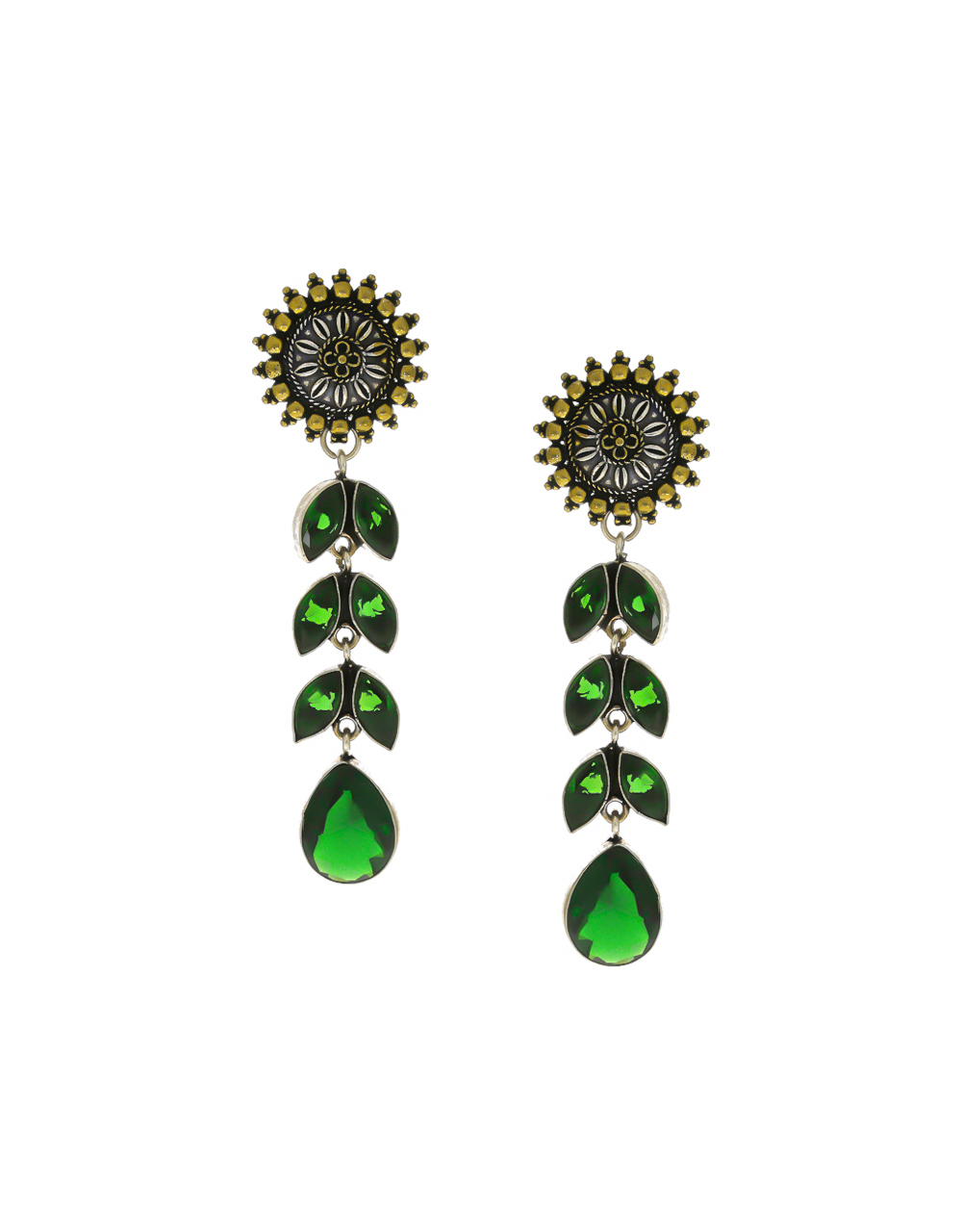 Green Colour Gold Finish Studded With Stones Oxidised Earrings