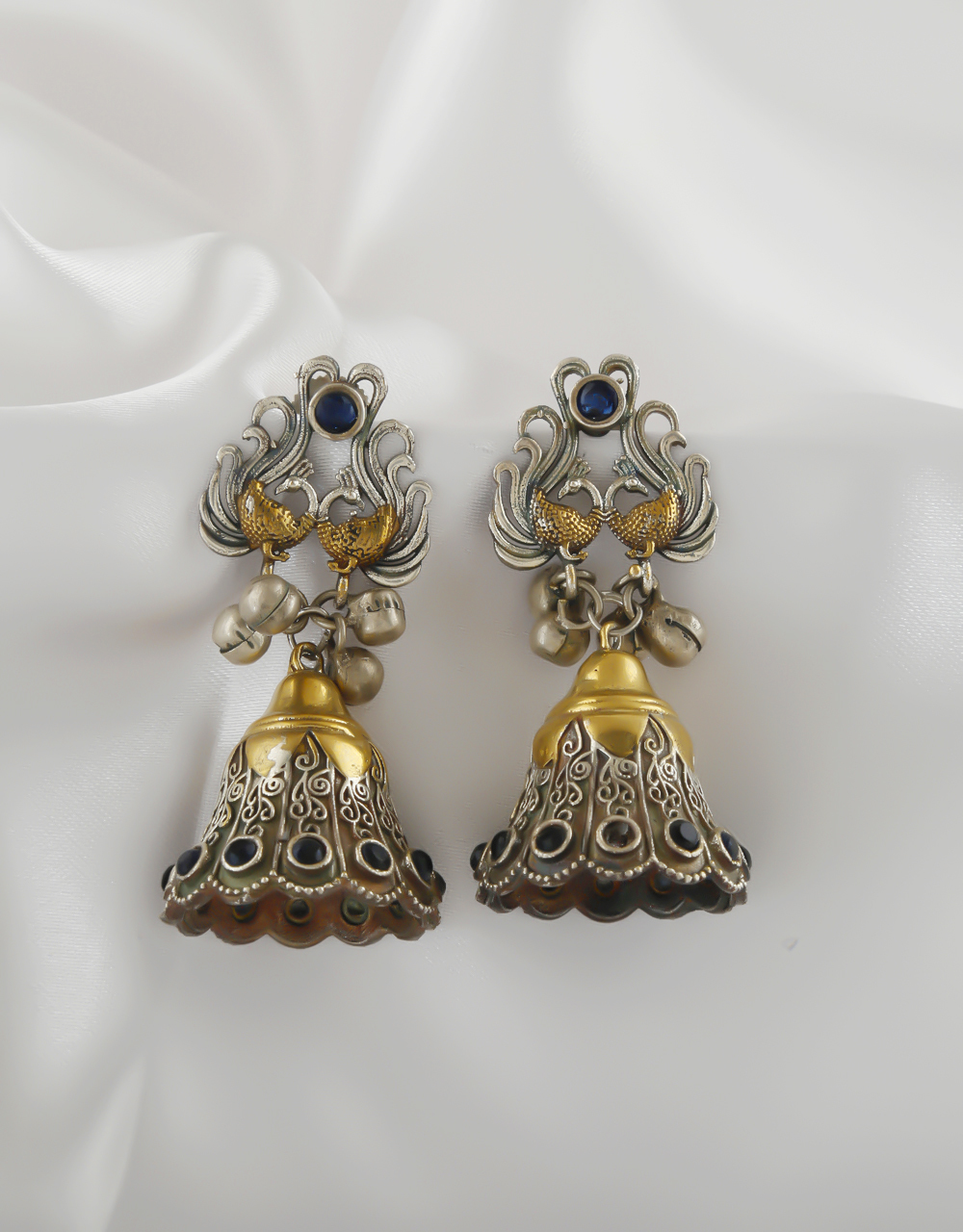 Peacock Design Gold Finish Studded With Stones Fancy Jhumkies