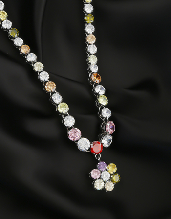 Multi Colour Silver Finish American Diamond Long Necklace For Women