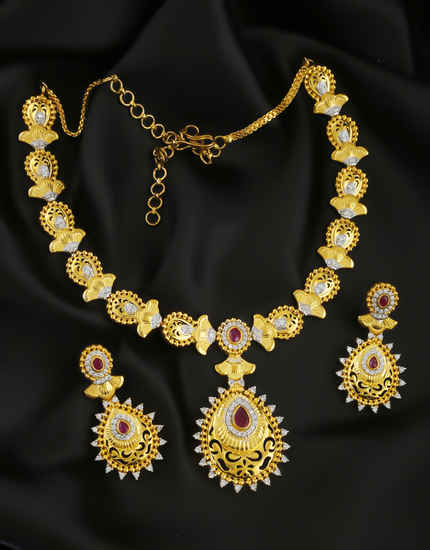 Pink Colour Gold Finish American Diamond Wedding Necklace For Girls