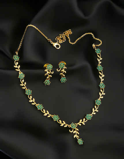 Green Colour Gold Finish Floral Design Fancy Simple Necklace