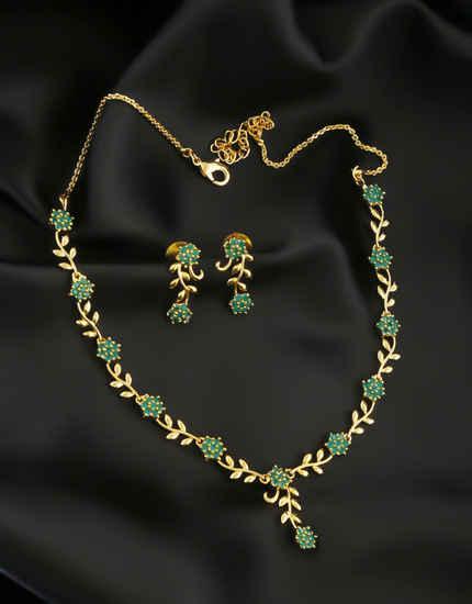 Green Colour Gold Finish Floral Design Fancy Simple Necklace