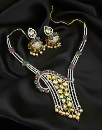 Multi Colour Kundan American Diamond Necklace For Women