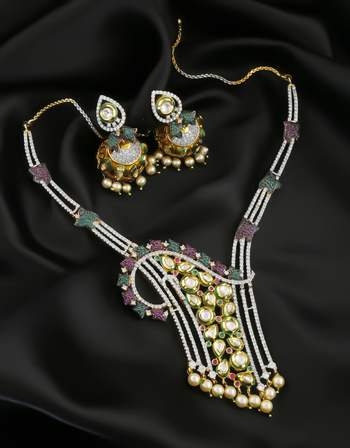 Multi Colour Kundan American Diamond Necklace For Women
