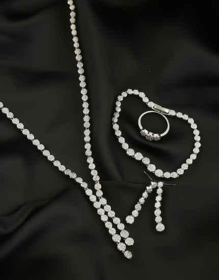 Silver Finish Fancy American Diamond Party Wear Combo Necklace
