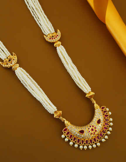 Pink Colour American Diamond Moti Haar Maharashtrian Necklace