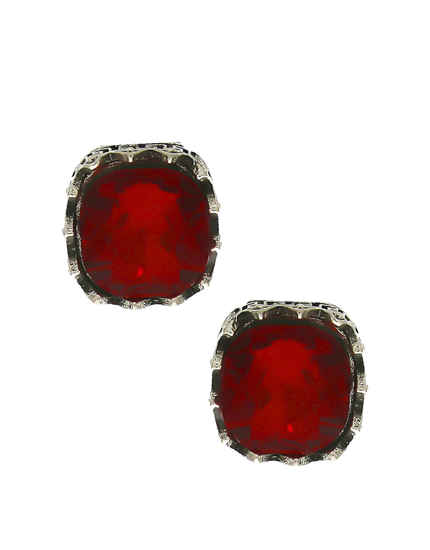 Red Colour Oxidize Finish Ear Stud For Girls