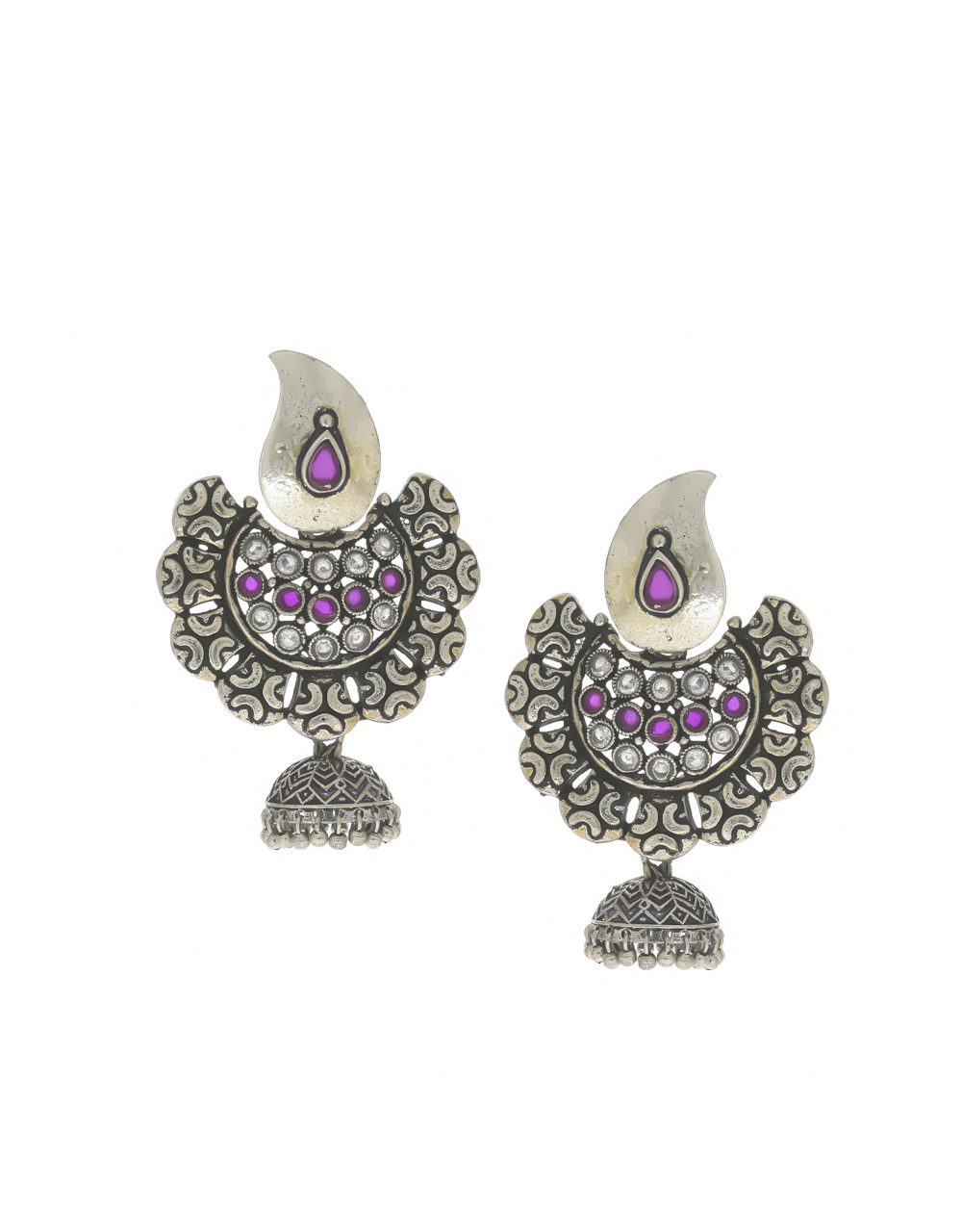 Pink Colour Silver Finish Chandbali Earrings