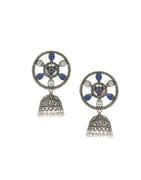 White-Blue Colour Oxidized Finish Jhumki Earrings