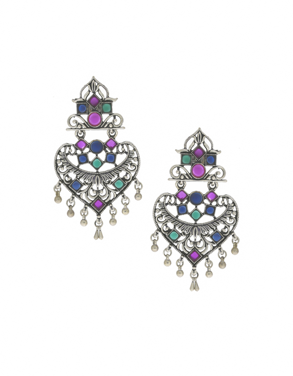 Multi Colour Oxidized Finish Earings For Girls