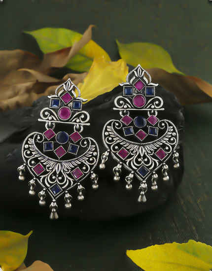 Pink-Blue Colour Oxidized Finish Earrings Fancy