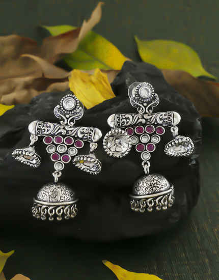 Pink Colour Silver Oxidized Finish Stylish Jhumki Earrings