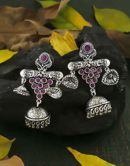 Pink Colour Oxidized Finish Stunning Earrings For Girls