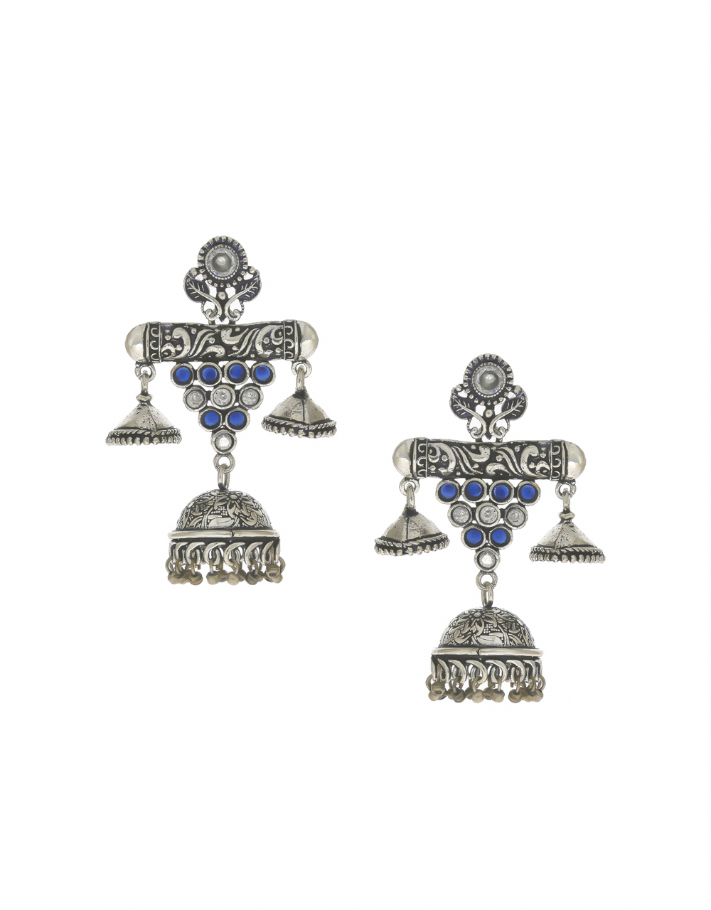 Blue Colour Oxidized Finish Fancy Earrings For Girls