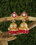 Red Colour Gold Finish Floral Design Fancy Jhoomka