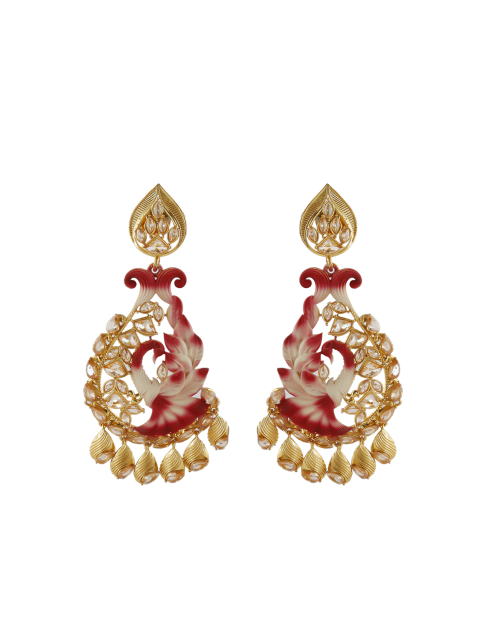 Very Classy Maroon Colour Gold Finish Stunning Earring For Girls