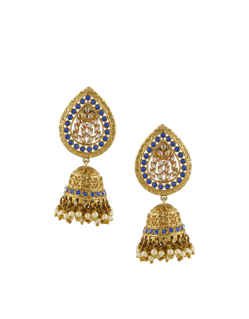 Blue Colour Gold Finish Studded With Stones Moti Earrings