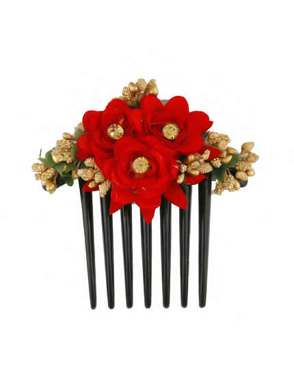 Red Colour Rose Floral Styled Fancy Hair Comb For Women
