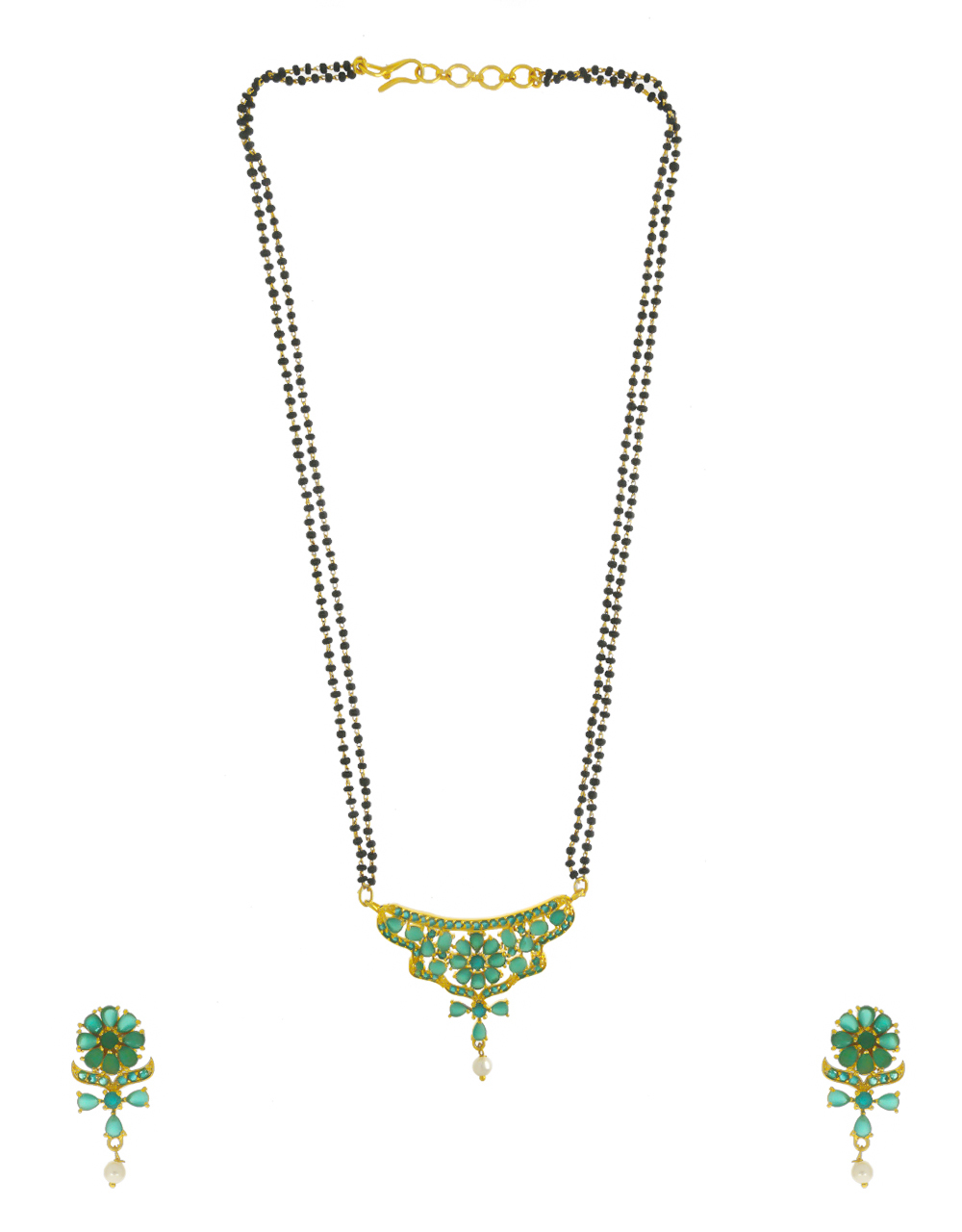 Green Colour Gold Finish Floral Design Styled With Pearls Beads Short Mangalsutra