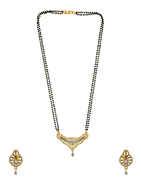 Unique Design Gold Finish American Diamond Short Mangalsutra