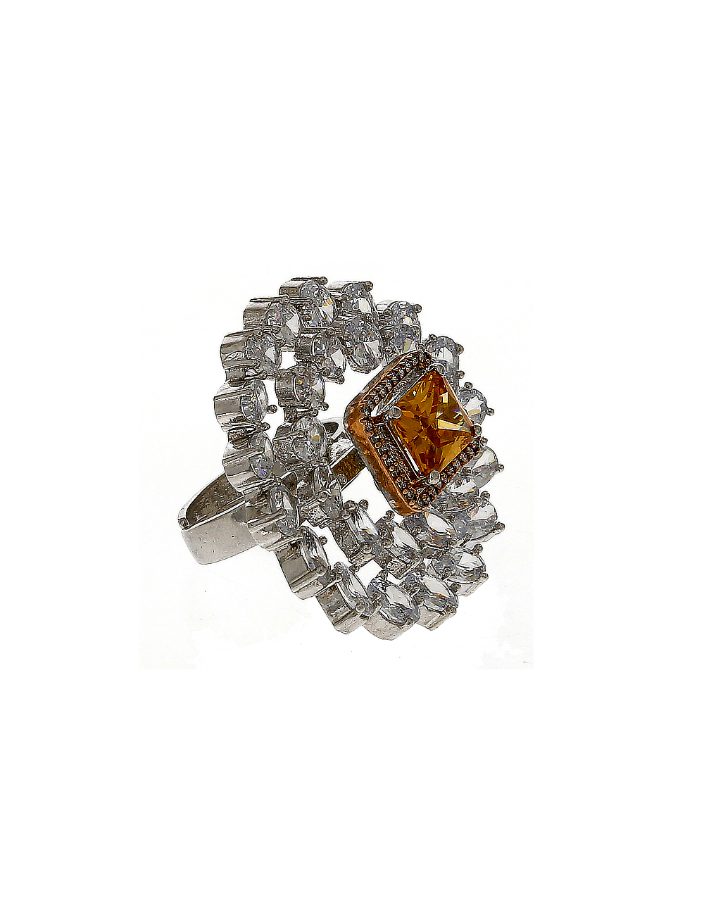 Peach Colour Fancy Silver Finish American Diamond Finger Rings