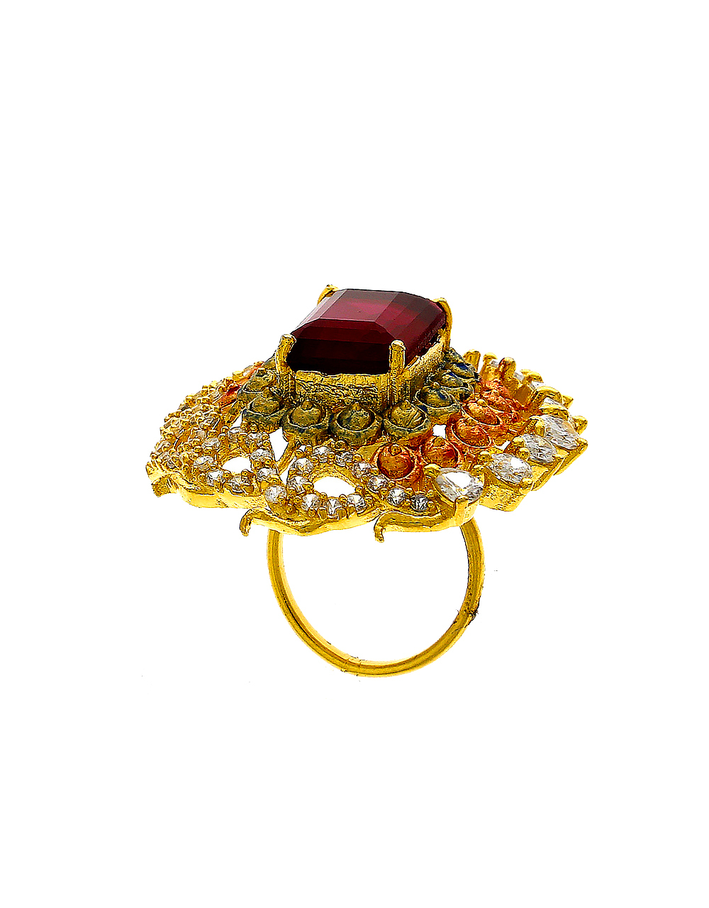 Red Colour Gold Finish Studded With Diamond American Diamond Finger Ring