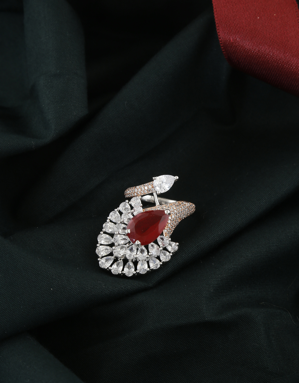 Red Colour Adorable Rose Gold Finish American Diamond Finger Rings
