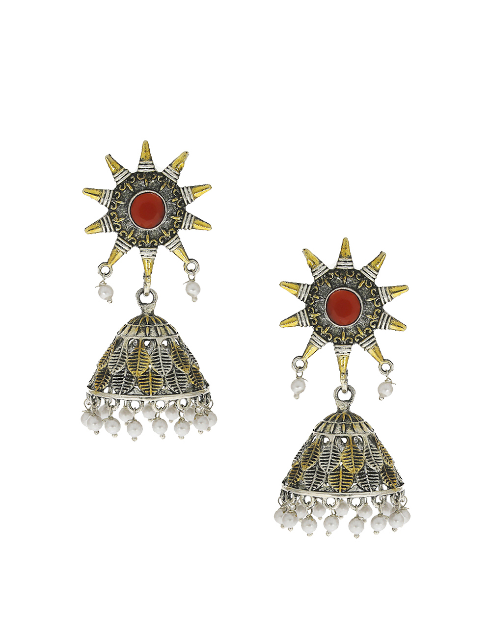 Red Colour Jhumki Styled With Pearls Beads Jhumkies