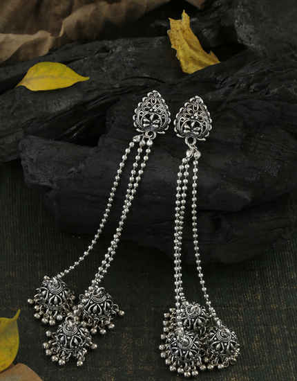 Fashionable Oxidized Finish Long Earrings For Girls