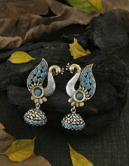 Adorable Turquiose Colour Fancy Oxidized Earrings For Girls