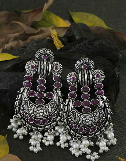 Pink Colour Oxidized Moti Styled Chandbali Earrings Fancy