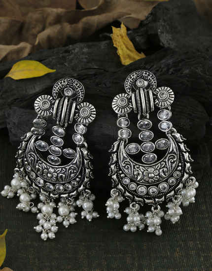 White Colour Oxidized Finish Styled With Pearls Beads Earrings
