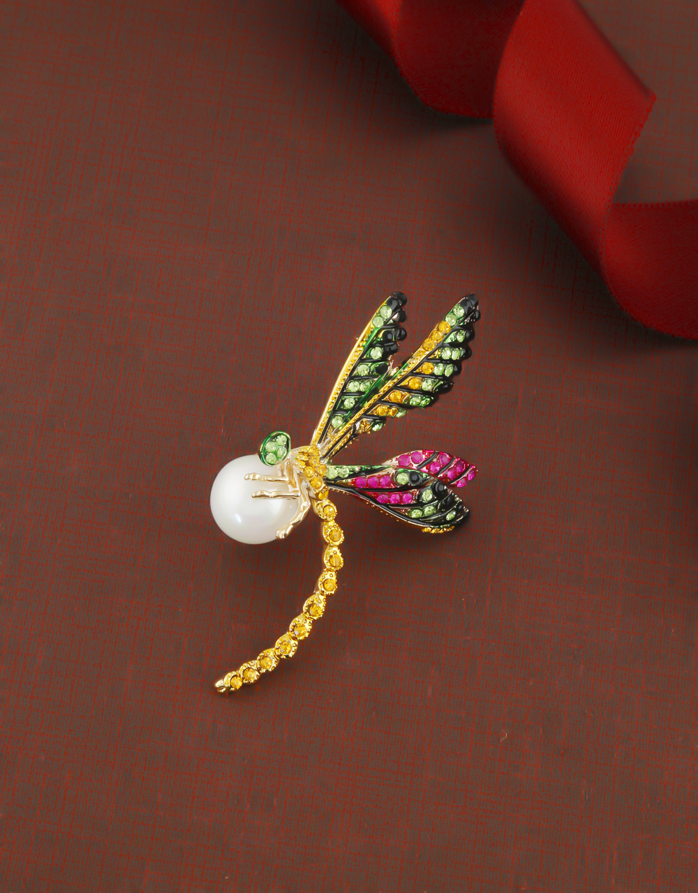 Gold Finish Multi Colour Pearls Styled Brooch