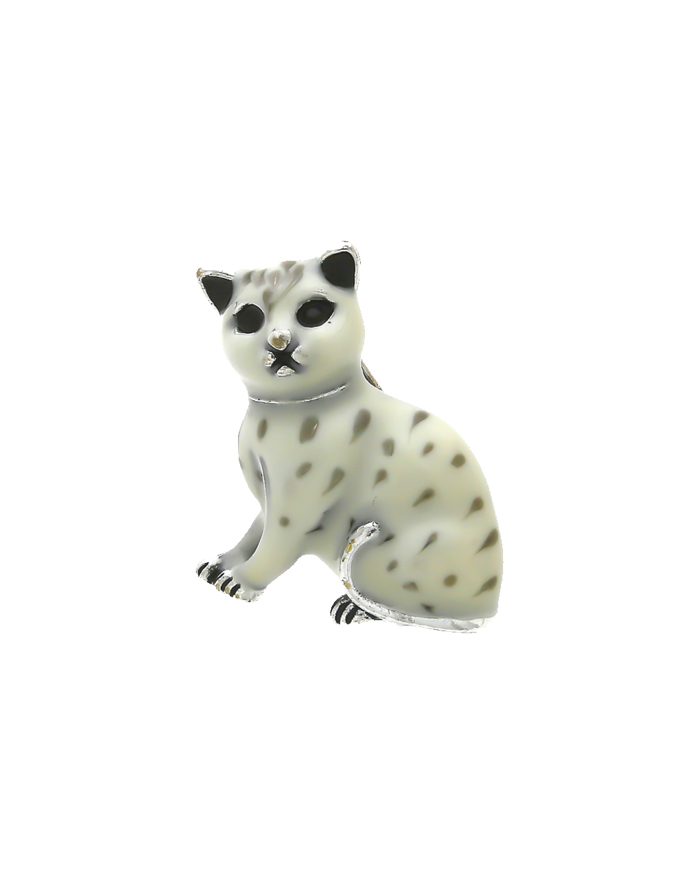 White Colour Silver Finish Cat Brooch For Girls
