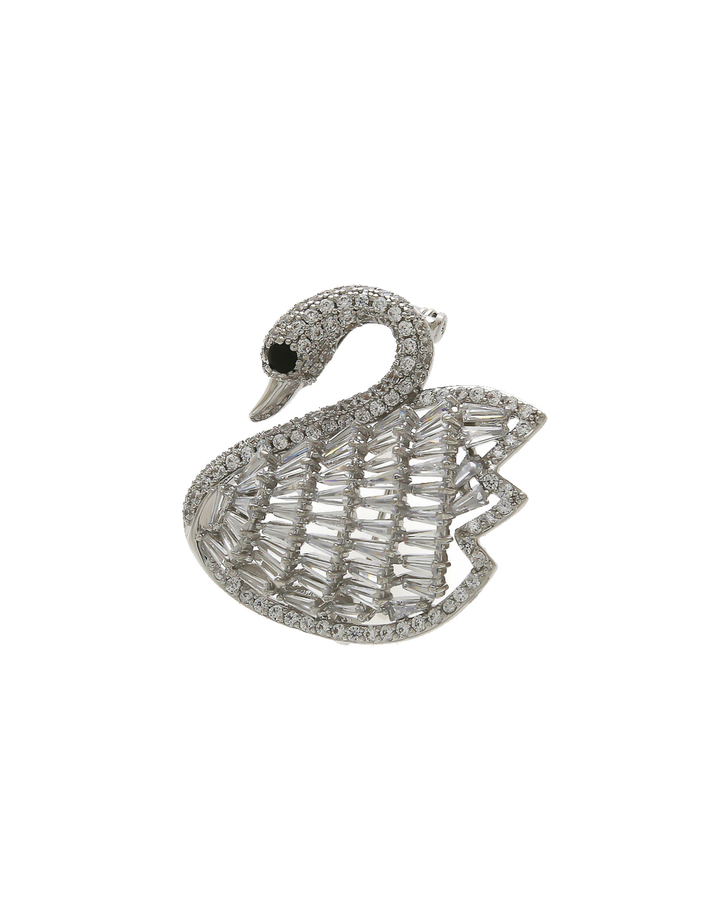 Silver Finish Duck Design Studded With American Diamond Fancy Brooch