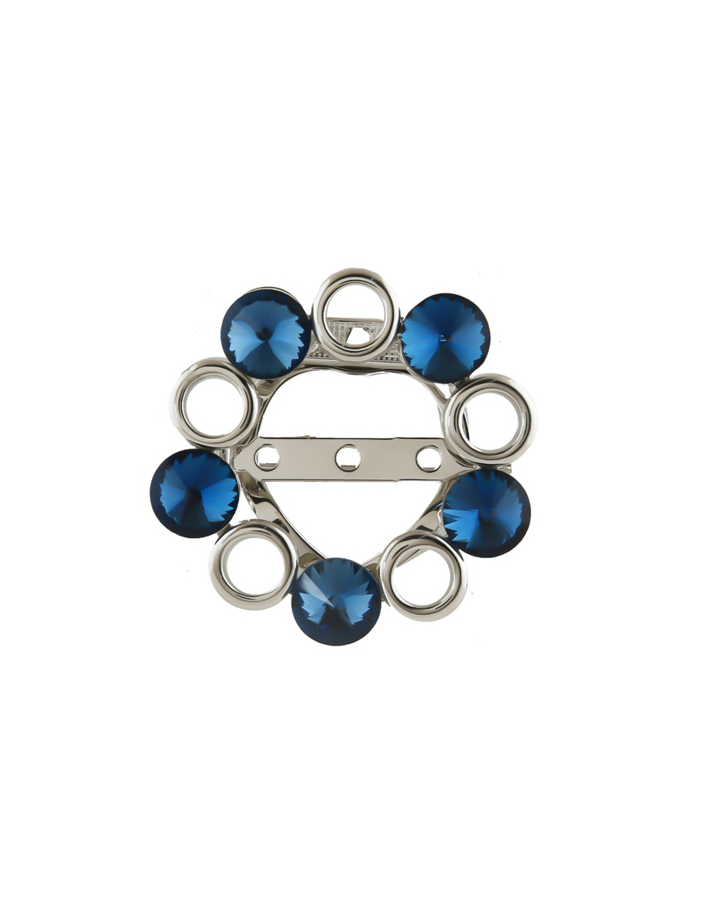 Silver Finish Blue Colour Studded With Stones Fancy Brooch