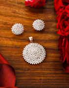 Fashionable Rose Gold Finish American Diamond Pendant Set Jewellery For Girls