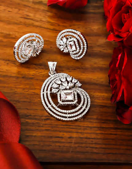 American Diamond Silver Finish Pendant Set Jewellery For Women